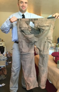 A picture of the pants before they went into the trash.